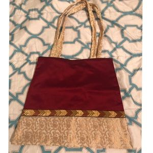 Golden embroidered traditional Indian handbag